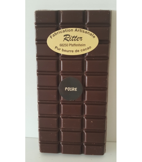 Tablette chocolat noir arôme poire 100gr